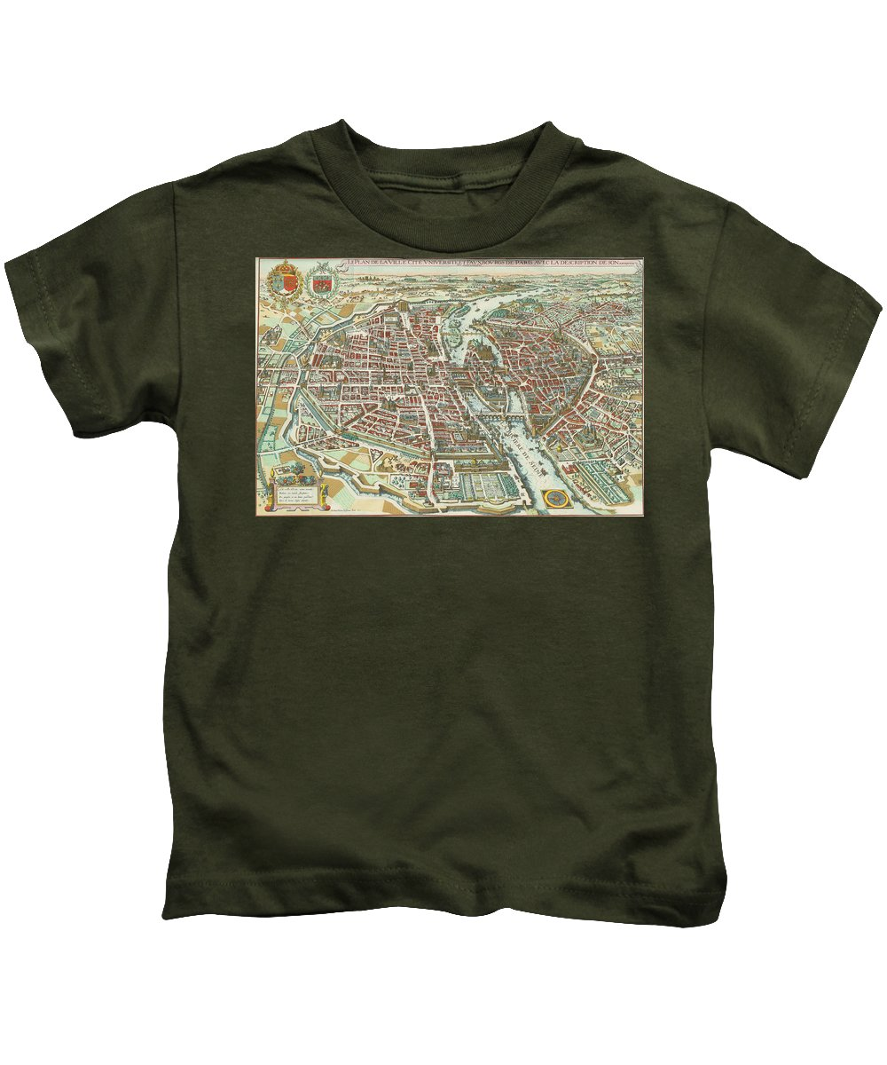 Paris Kids T-Shirt featuring the drawing Vintage Pictorial Map Of Paris - 1615 by CartographyAssociates