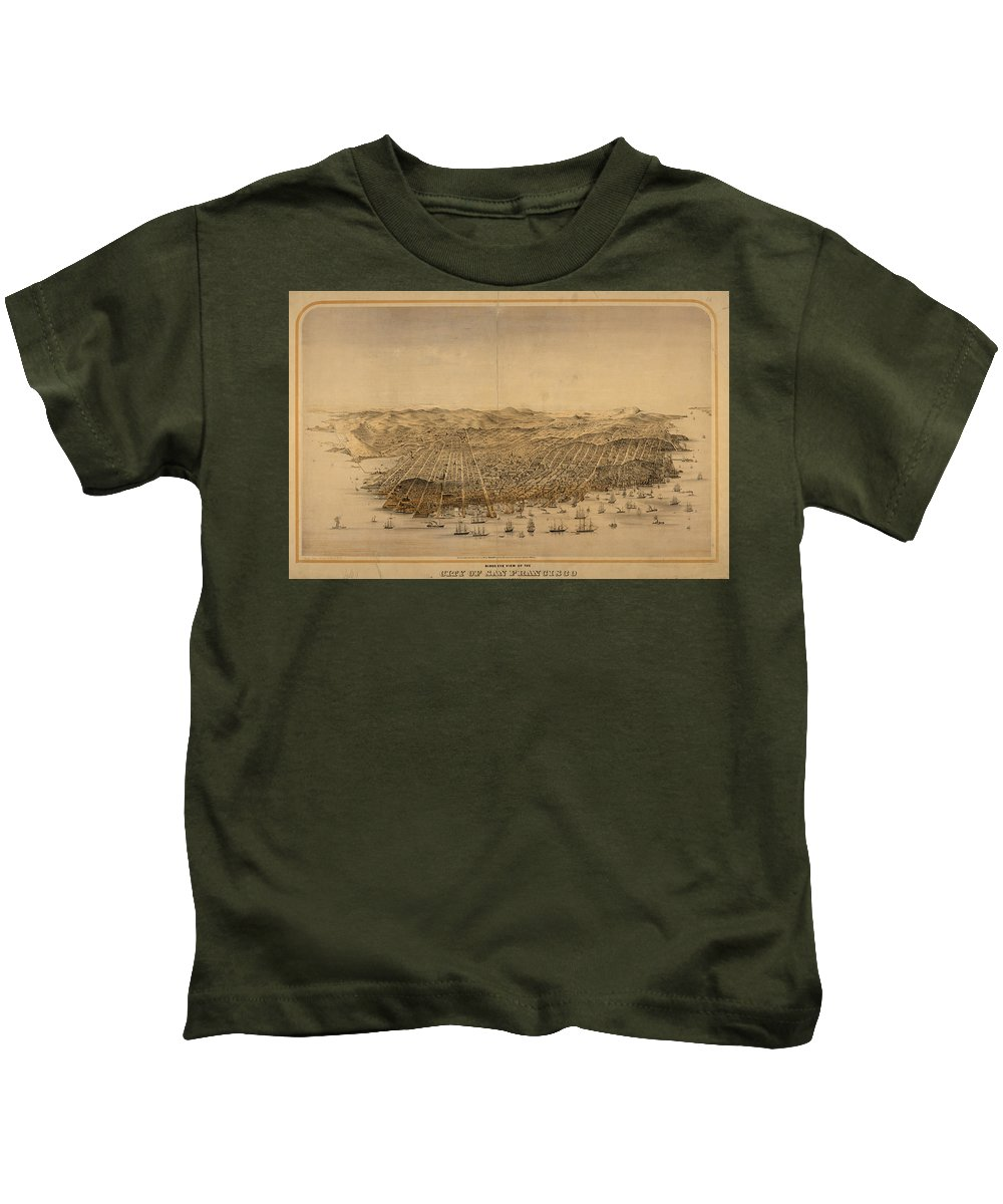 San Francisco Kids T-Shirt featuring the drawing Vintage Pictorial Map Of San Francisco - 1868 by CartographyAssociates