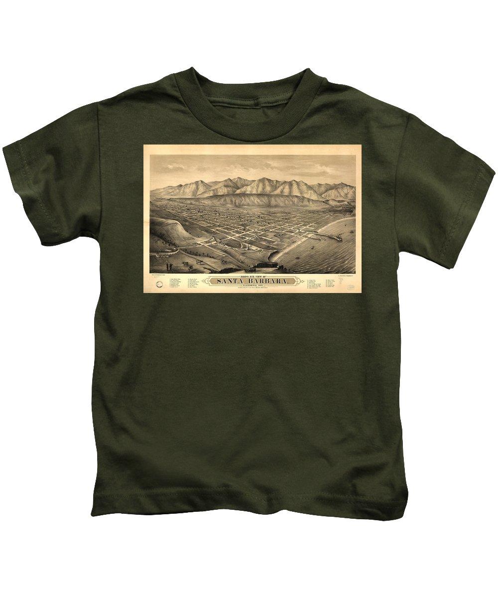 Santa Barbara Kids T-Shirt featuring the drawing Vintage Pictorial Map Of Santa Barbara Ca - 1877 by CartographyAssociates