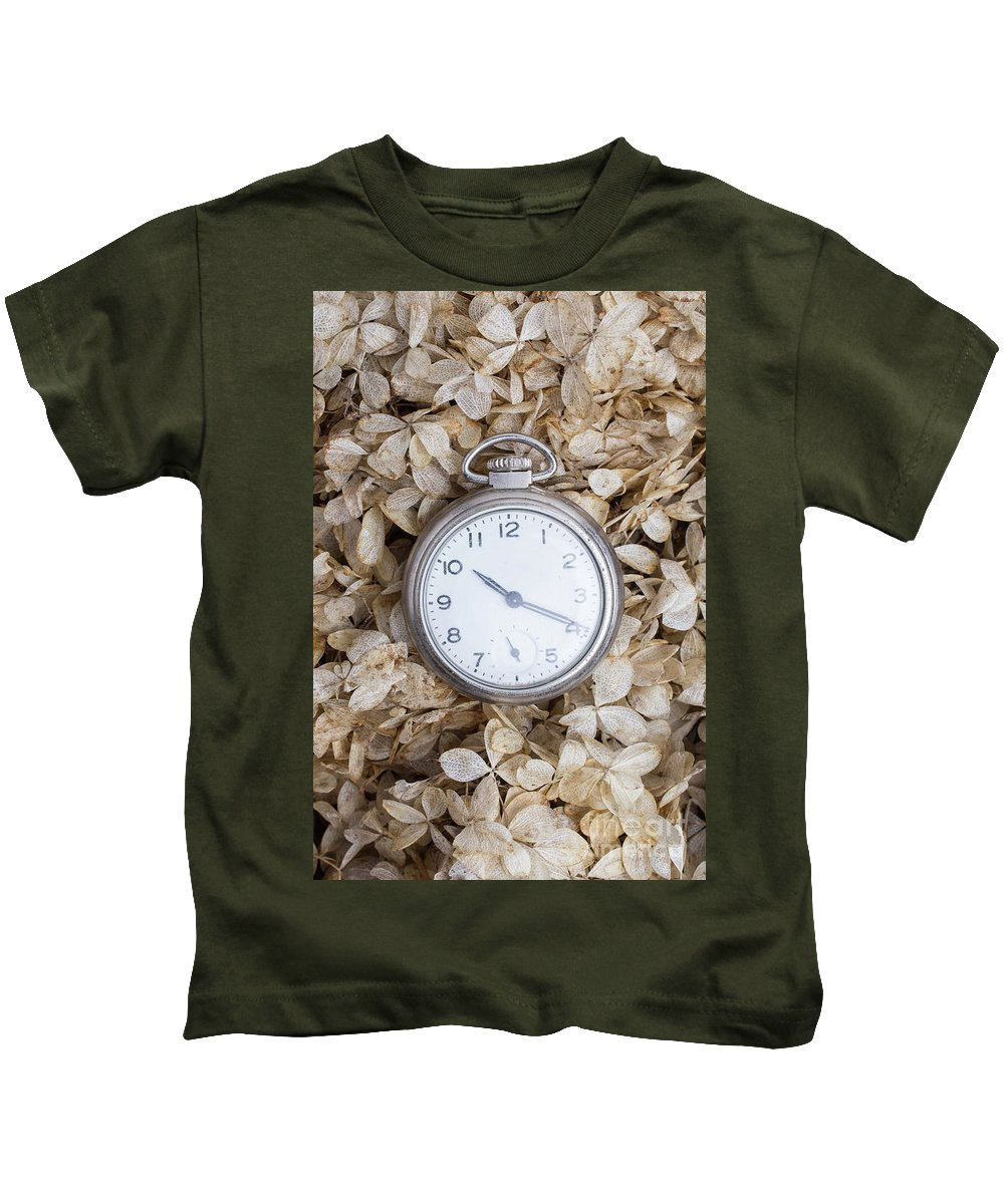 Still Life Kids T-Shirt featuring the photograph Vintage Pocket Watch Over Dried Flowers by Edward Fielding