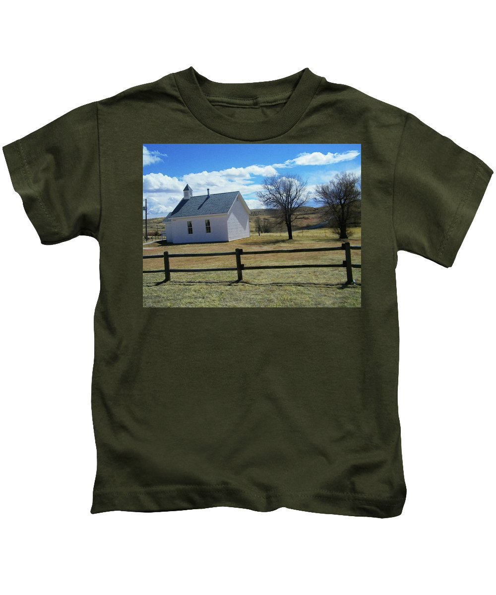 Abstract Kids T-Shirt featuring the photograph Virginia Dale Church by Lenore Senior