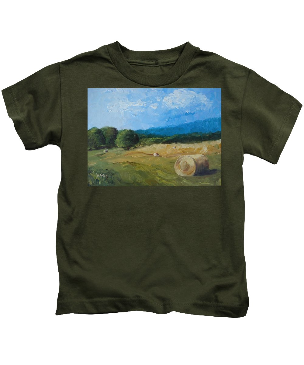 Hay Kids T-Shirt featuring the painting Virginia Hay Bales II by Donna Tuten