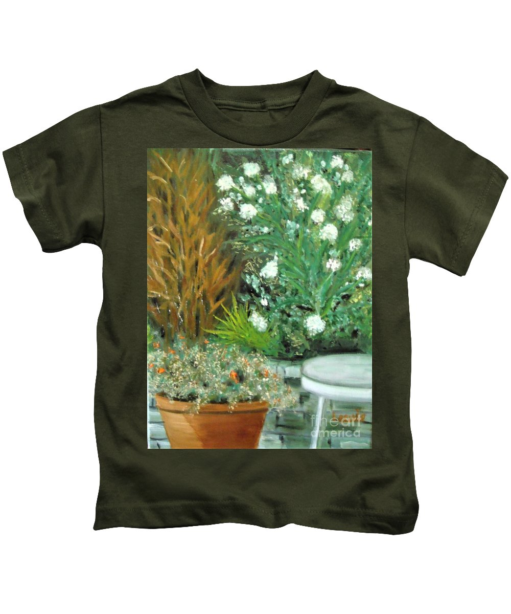 Virginia Kids T-Shirt featuring the painting Virginia's Garden by Laurie Morgan