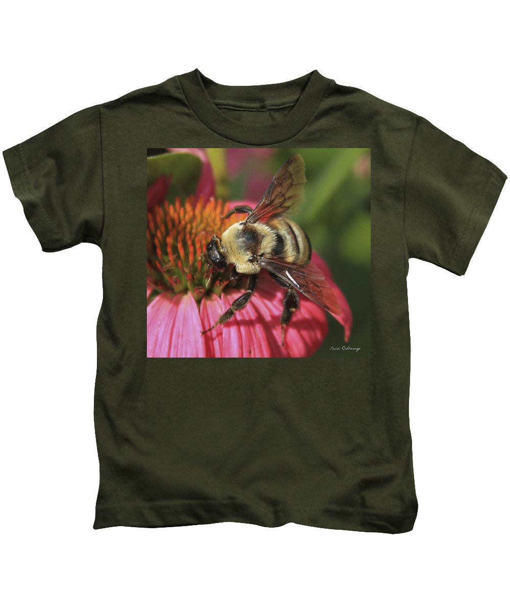 Reid Callaway Visitor Up Close Kids T-Shirt featuring the photograph Visitor Up Close Coneflower by Reid Callaway