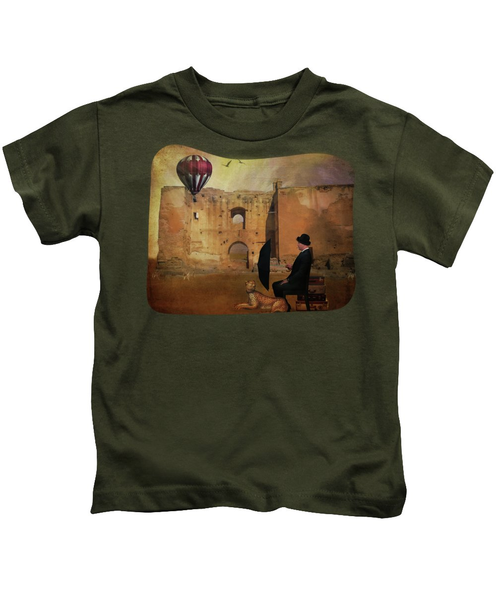 Travel Kids T-Shirt featuring the digital art Waiting At The Station by Terry Fleckney
