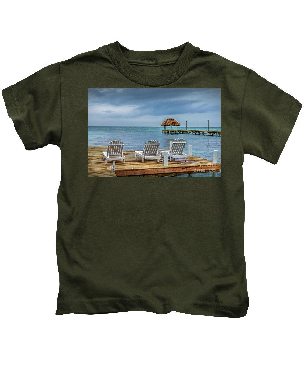 San Pedro Belize Kids T-Shirt featuring the photograph Waiting By The Sea by David Zanzinger