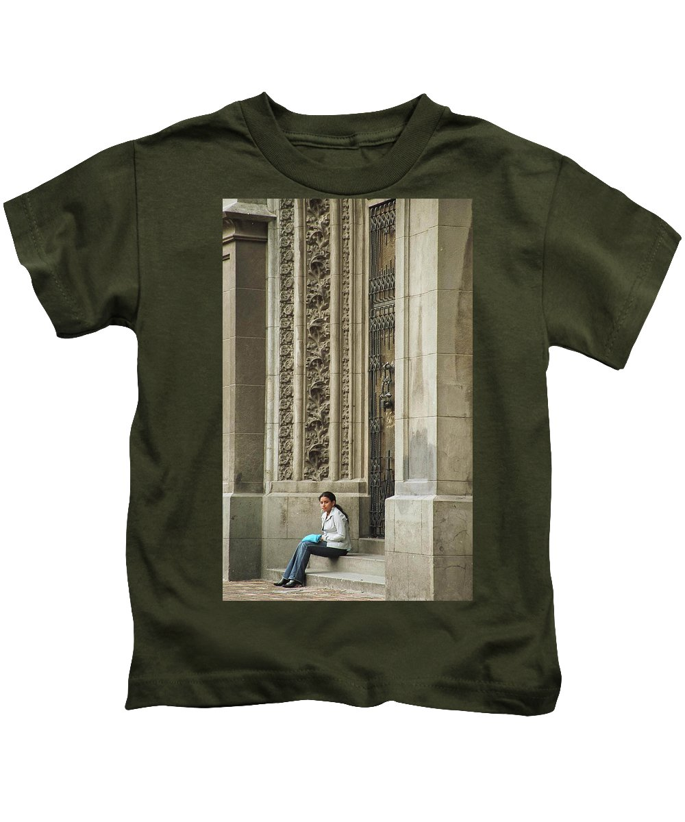 Church Kids T-Shirt featuring the photograph Waiting For God by Kathy McClure