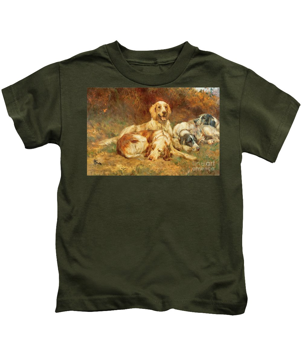 Waiting Kids T-Shirt featuring the painting Waiting For The Guns by Thomas Blinks