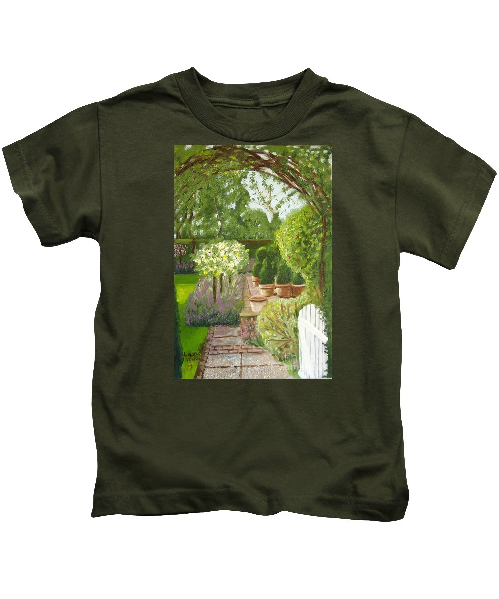 Garden Kids T-Shirt featuring the painting Walk With Me by Laurie Morgan