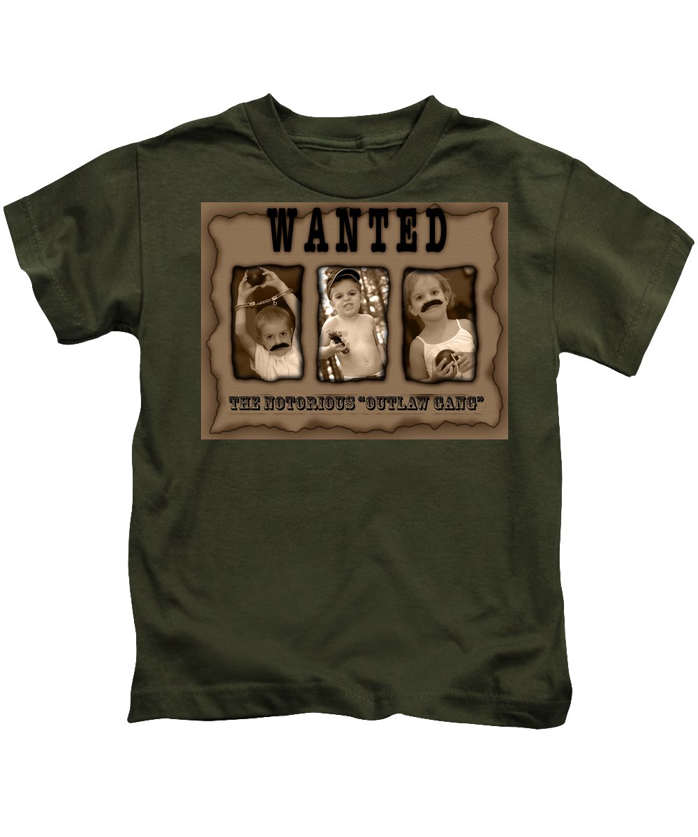 Wanted Kids T-Shirt featuring the photograph Wanted The Outlaw Gang by Jill Reger