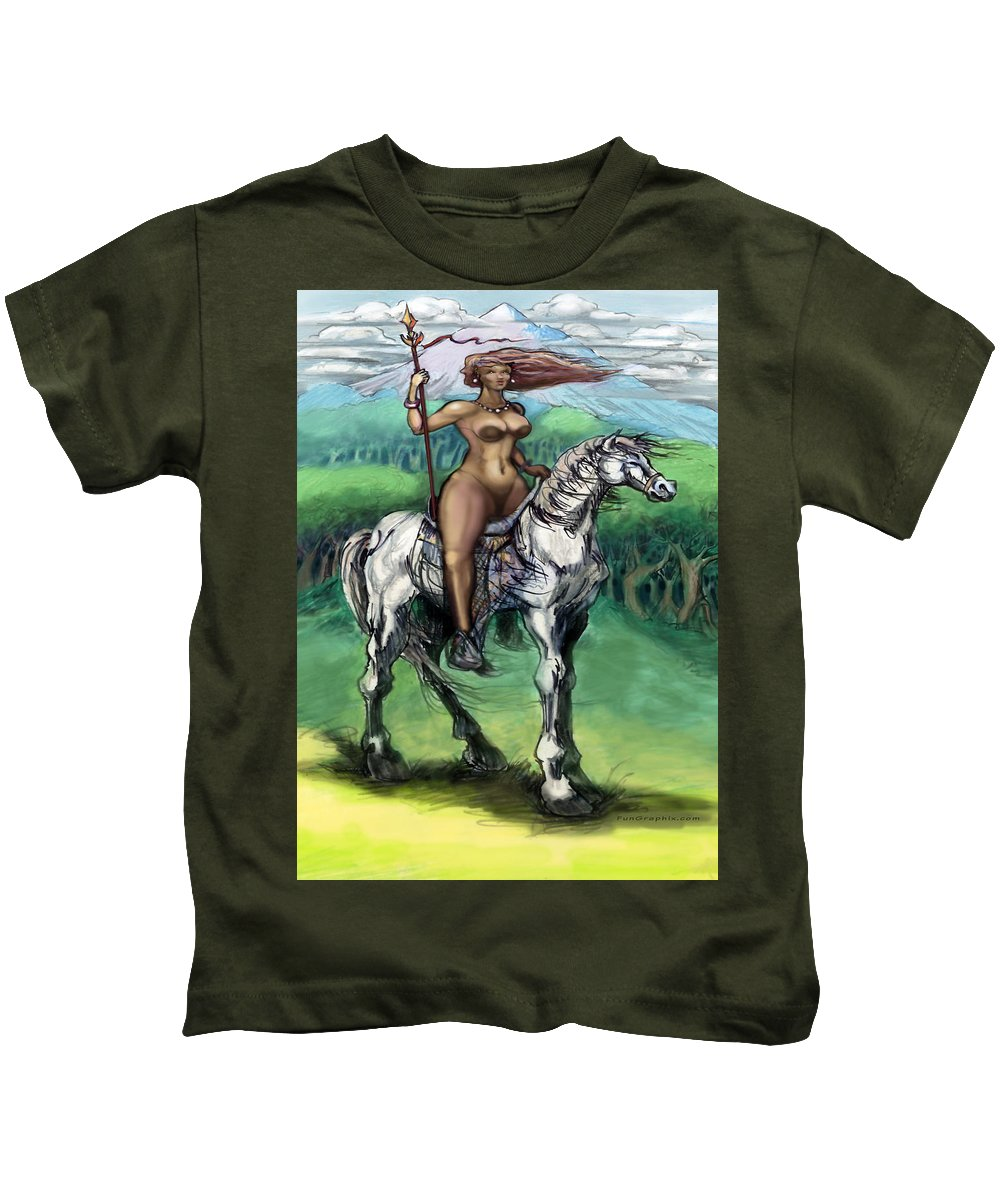 Warrior Kids T-Shirt featuring the painting Warrior Maiden by Kevin Middleton