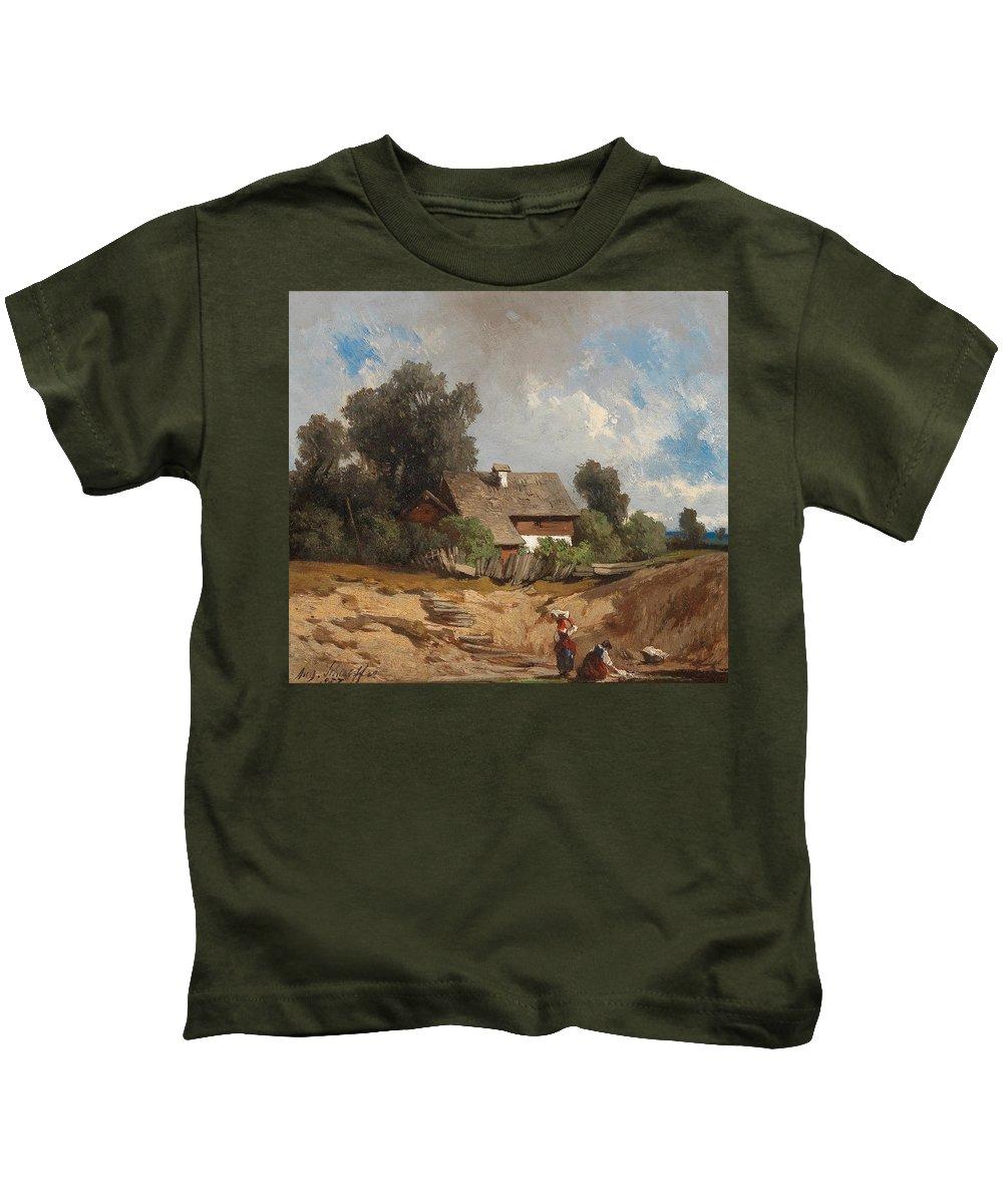 August Schaeffer Von Wienwald Kids T-Shirt featuring the painting Washerwomen By The River by August Schaeffer von Wienwald