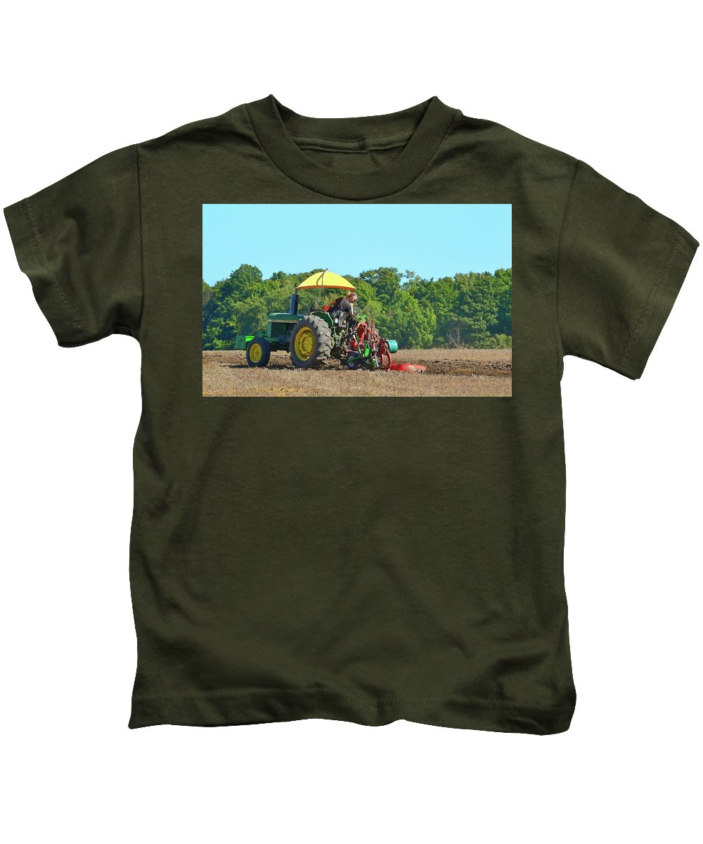 Farm Kids T-Shirt featuring the photograph Watching Her Plow Two by Lyle Crump