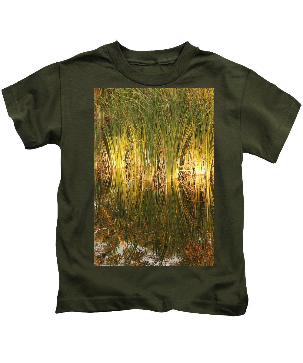 Grass Kids T-Shirt featuring the photograph Water Grass In Sunset by Rob Hans