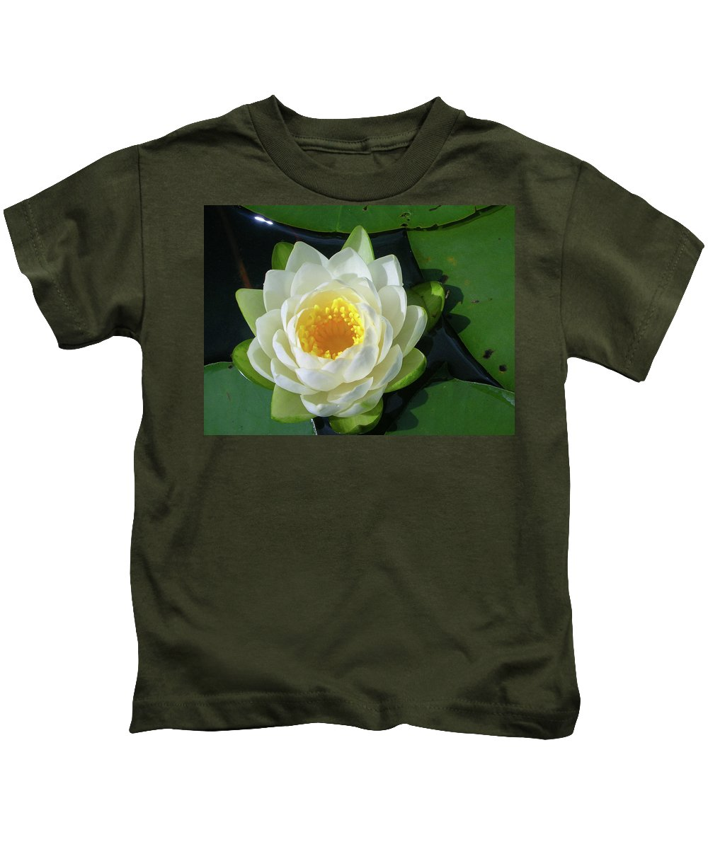 Cassadaga Lakes Kids T-Shirt featuring the photograph Water Lily 3437 by Guy Whiteley