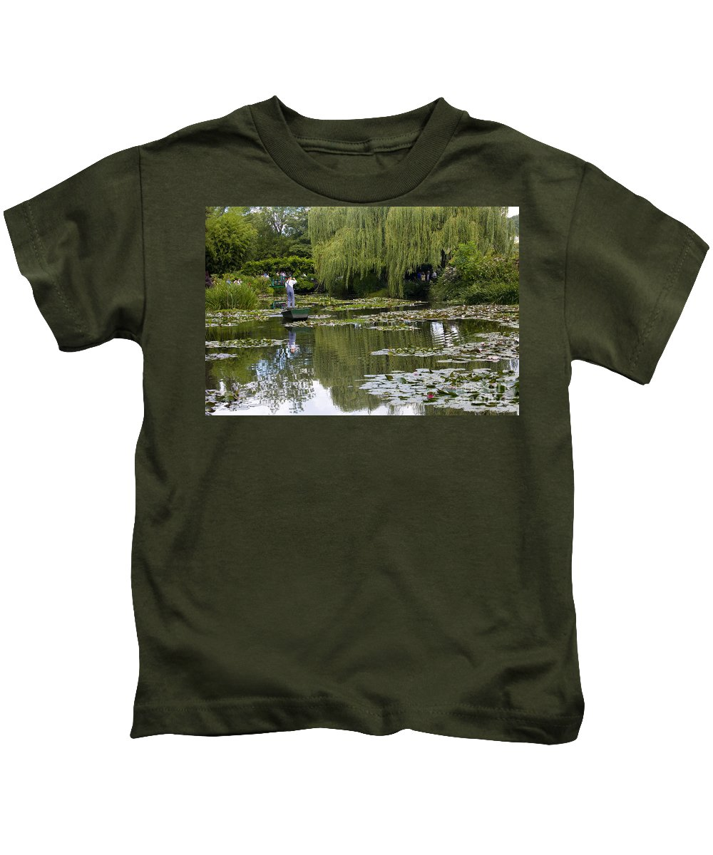 Monet Gardens Giverny France Water Lily Punt Boat Water Willows Kids T-Shirt featuring the photograph Water Lily Garden Of Monet In Giverny by Sheila Smart Fine Art Photography
