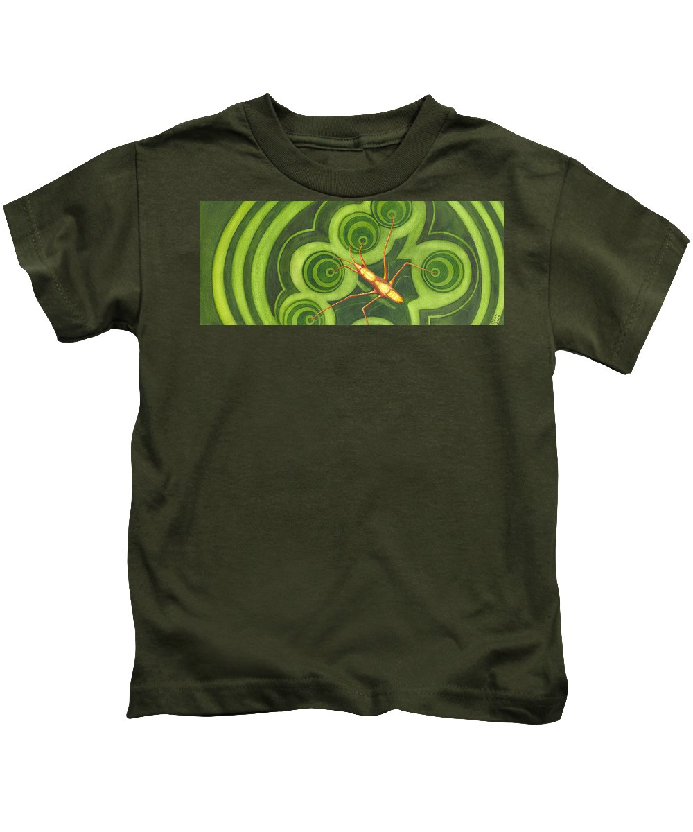 Strider Kids T-Shirt featuring the painting Water Strider by Catherine G McElroy