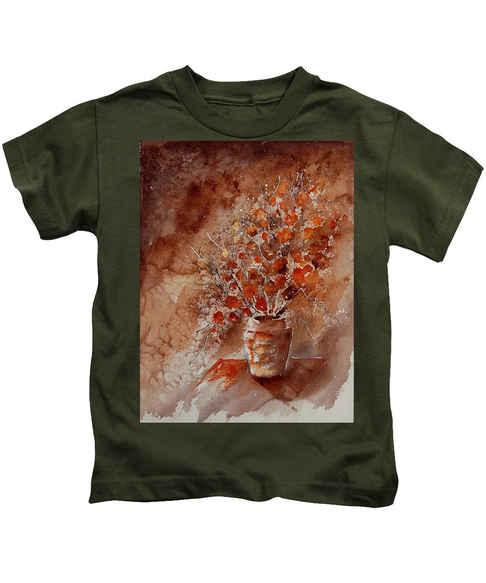 Poppies Kids T-Shirt featuring the painting Watercolor Autumn Bunch by Pol Ledent