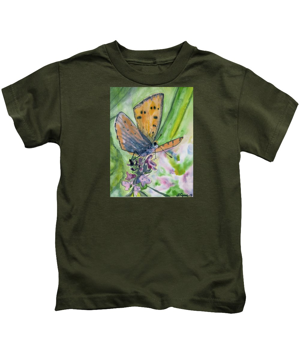 Butterfly Kids T-Shirt featuring the painting Watercolor - Small Butterfly On A Flower by Cascade Colors