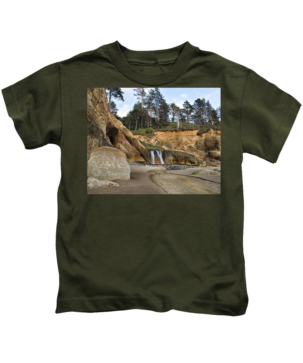 Oregon Kids T-Shirt featuring the photograph Waterfall At Hug Point State Park Oregon by Renee Hong