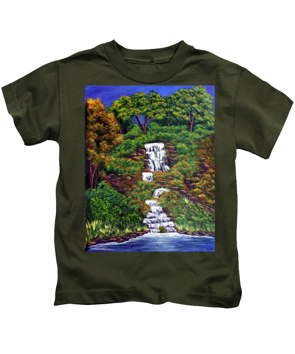 Waterfall Kids T-Shirt featuring the painting Waterfall by Dawn Blair