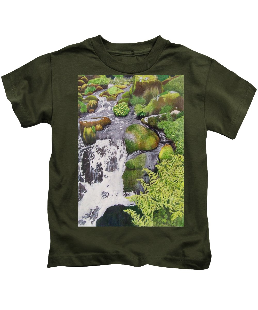 Waterfall Kids T-Shirt featuring the mixed media Waterfall On Skye by Constance Drescher