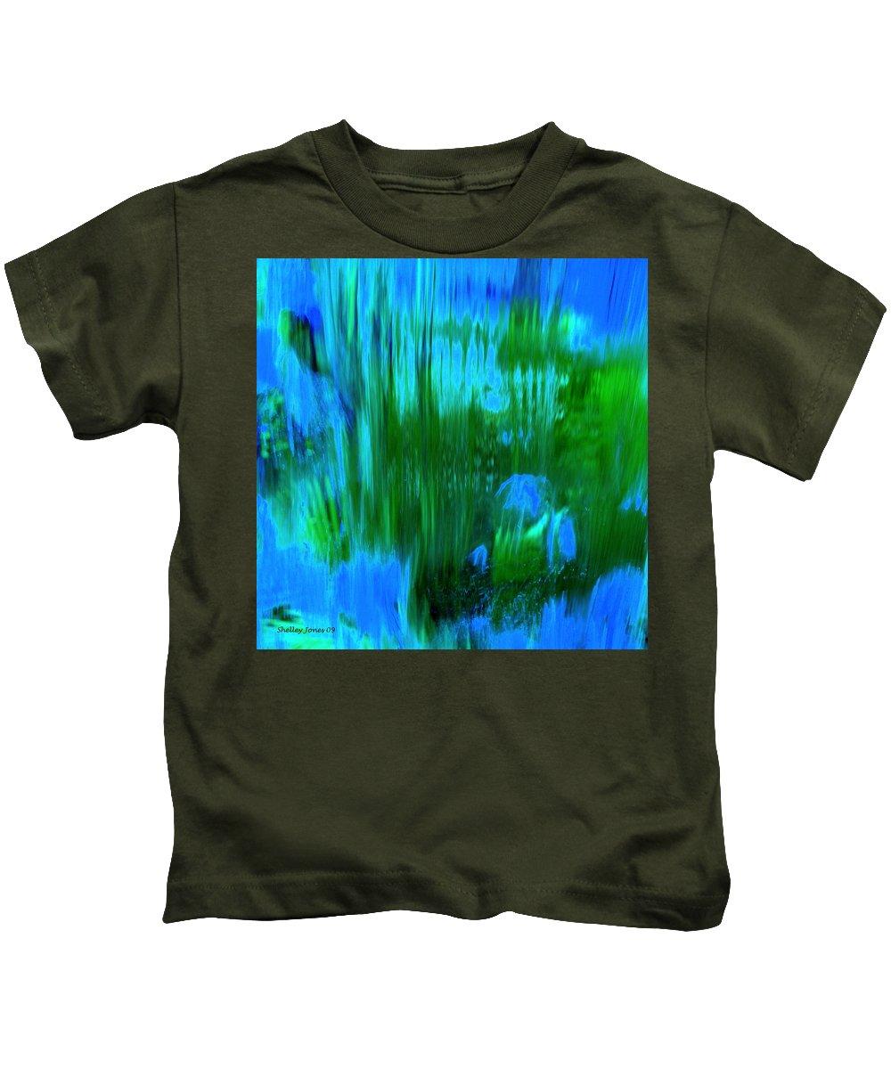 Digital Art Kids T-Shirt featuring the digital art Waterfall by Shelley Jones