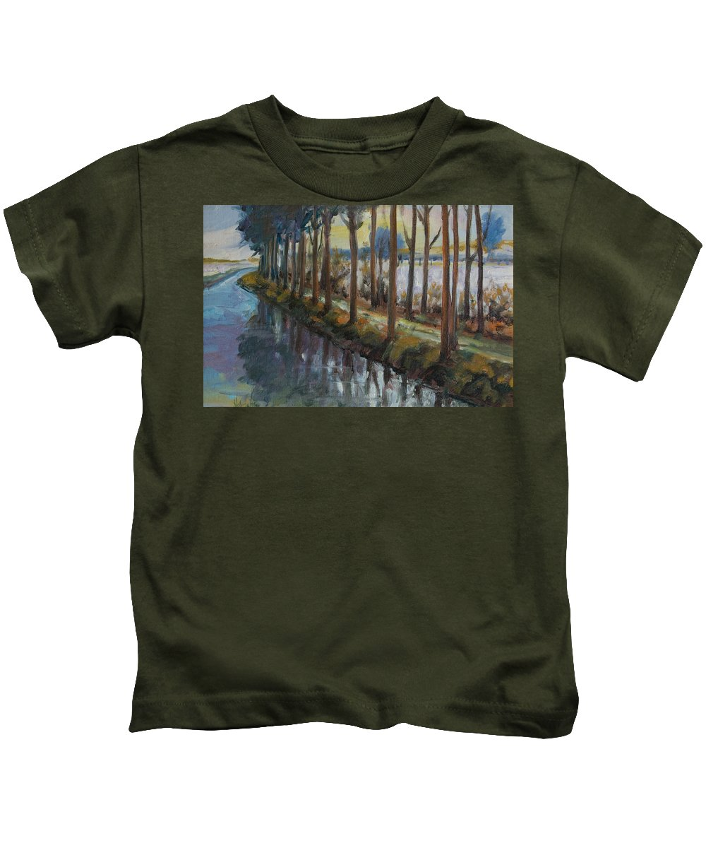 Trees Kids T-Shirt featuring the painting Waterway by Rick Nederlof