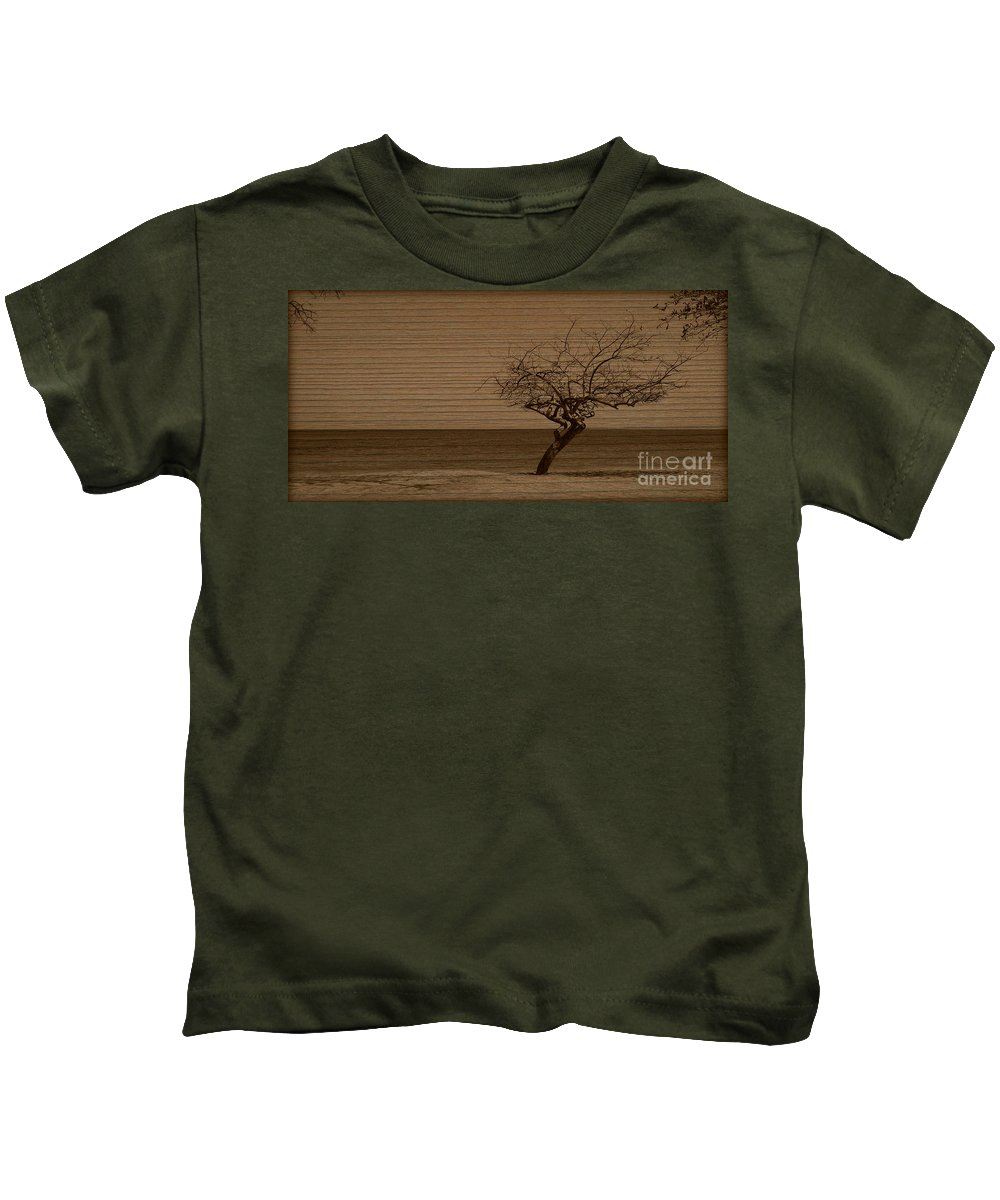 Tree Kids T-Shirt featuring the photograph Weatherd Beach Tree by Perry Webster