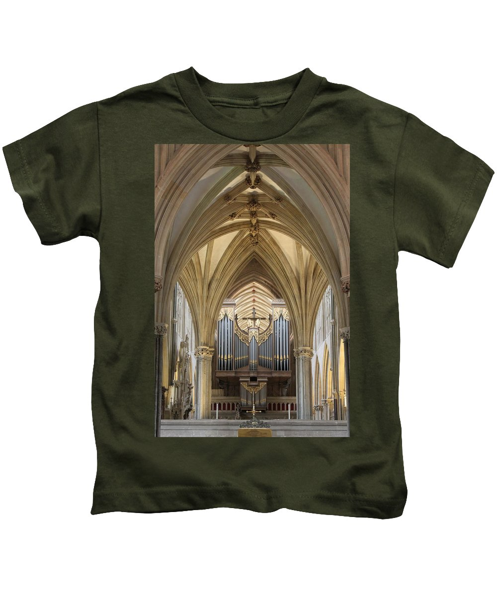 Wells Cathedral Kids T-Shirt featuring the photograph Wells Cathedral Pipe Organ by Lauri Novak