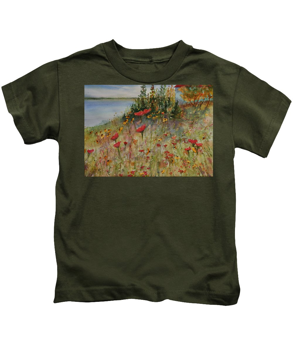 Nature Kids T-Shirt featuring the painting Wendy's Wildflowers by Ruth Kamenev