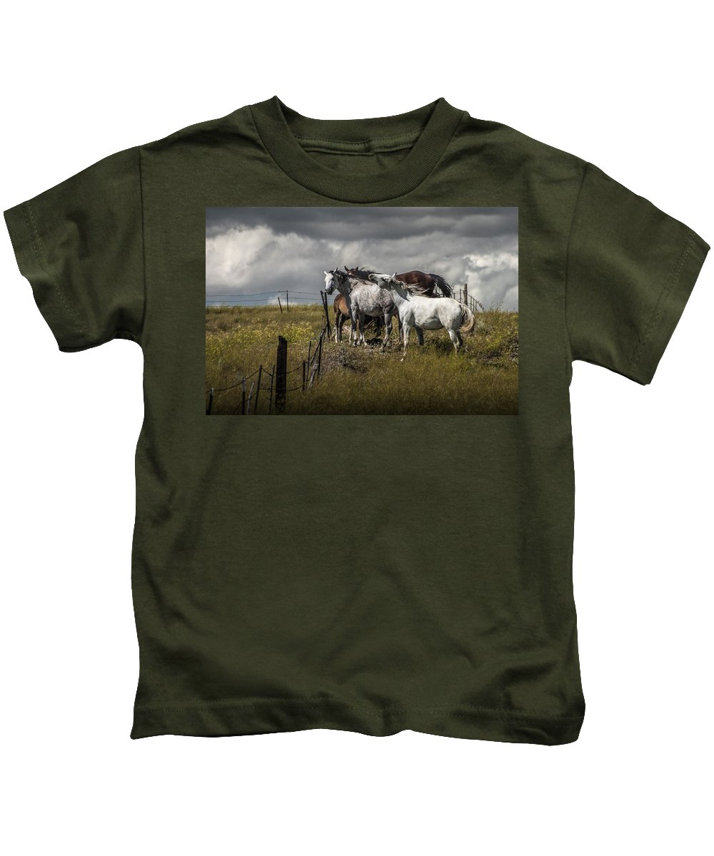 Horse Kids T-Shirt featuring the photograph Western Horses By The Pasture Fence by Randall Nyhof