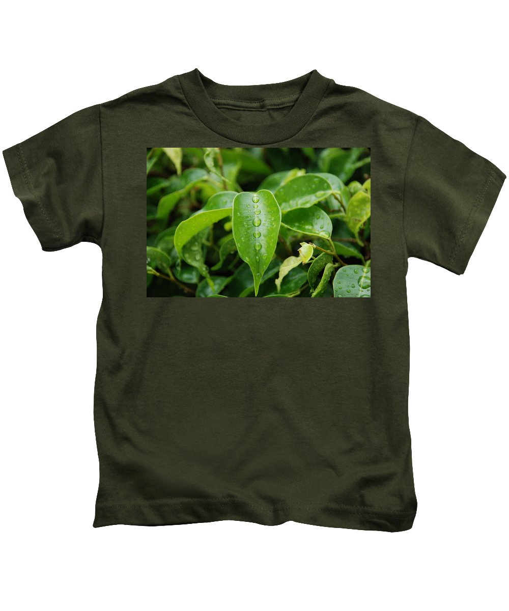 Macro Kids T-Shirt featuring the photograph Wet Bushes by Rob Hans
