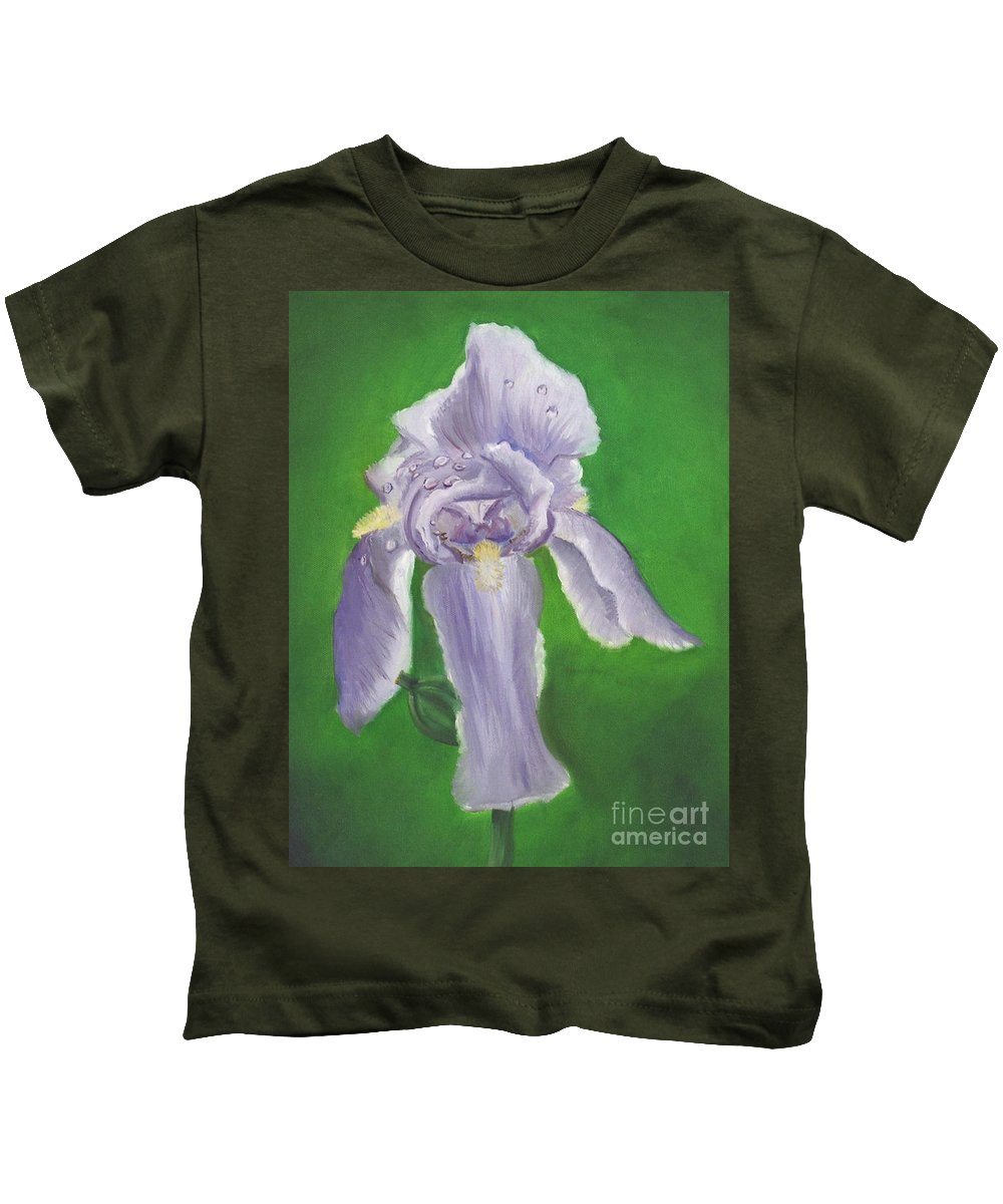 Iris Kids T-Shirt featuring the painting Wet Iris by Mendy Pedersen