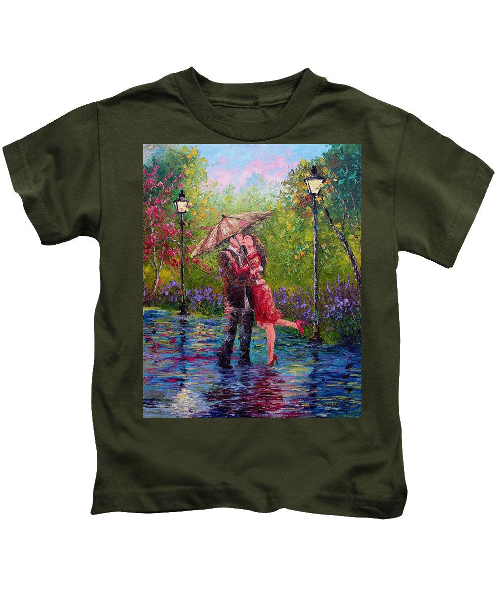 Kiss Kids T-Shirt featuring the painting Wet Kiss by David G Paul