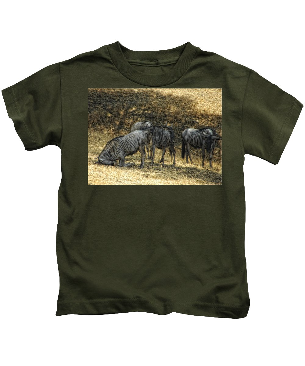Wildebeast Kids T-Shirt featuring the photograph What A Bewildering Day by Donna Blackhall