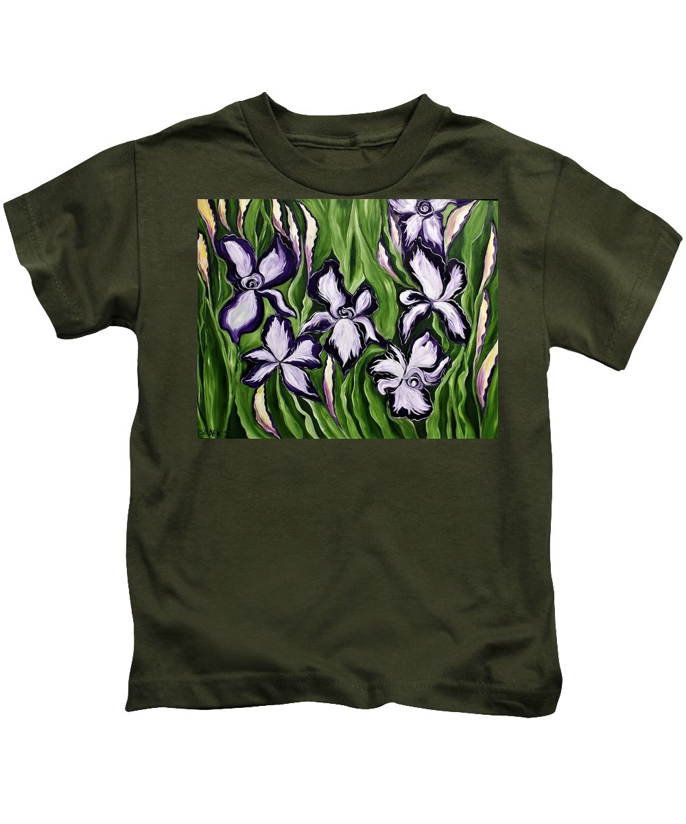 Flowers Kids T-Shirt featuring the painting What A Strange Trip It's Been by Lisa Aerts