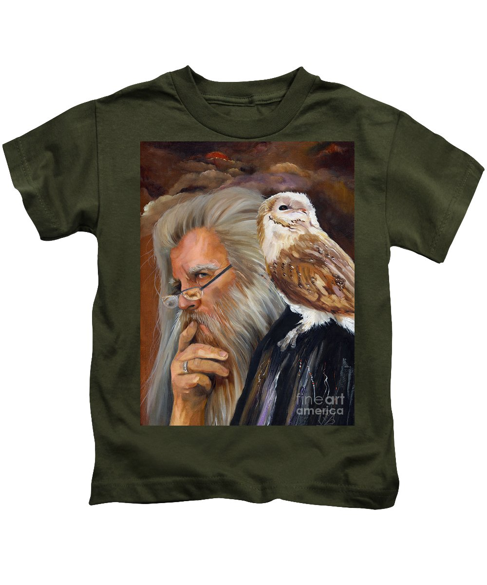 Wizard Kids T-Shirt featuring the painting What If... by J W Baker