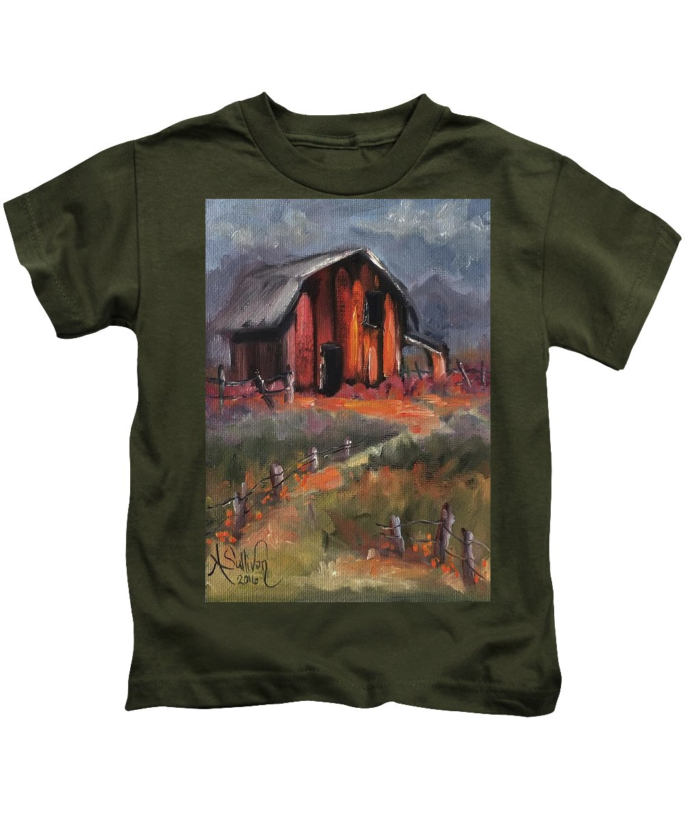 Barn Kids T-Shirt featuring the painting Where Flowers Bloom by Angela Sullivan