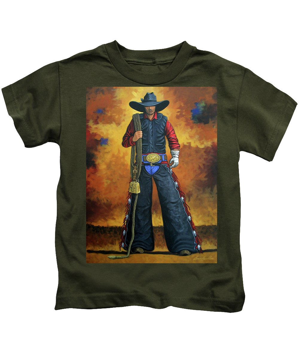 Rodeo Kids T-Shirt featuring the painting Where's My Ride by Lance Headlee