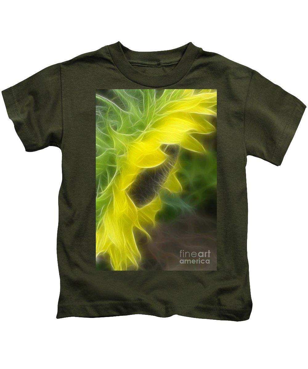 Sunflower Kids T-Shirt featuring the mixed media Whispy Petals by Deborah Benoit
