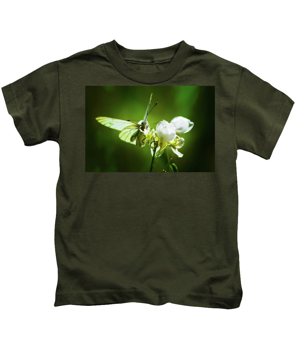 Butterfly Kids T-Shirt featuring the photograph White Butterfly by Christine Dorfer