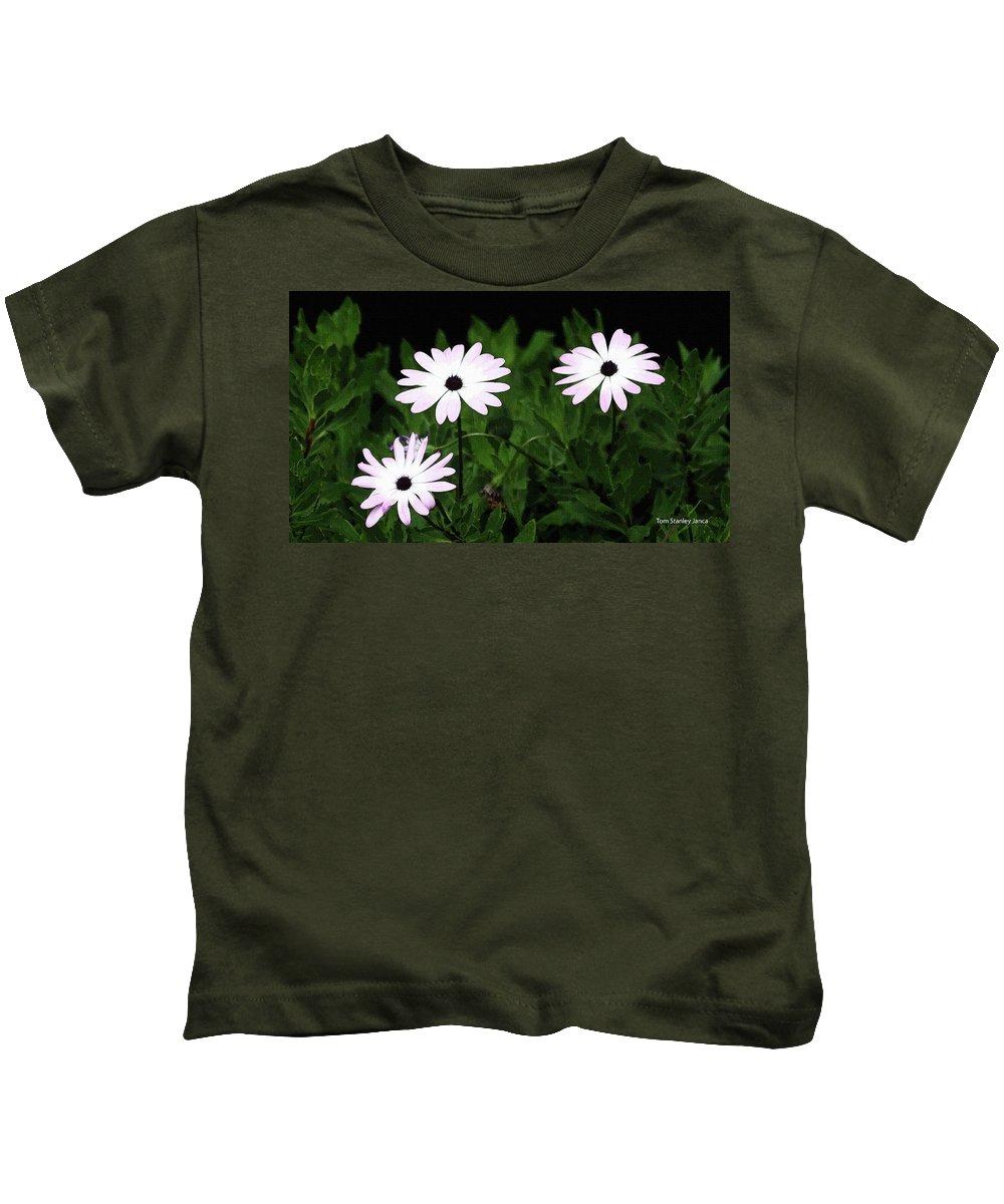 White Flowers In The Garden Kids T-Shirt featuring the photograph White Flowers In The Garden by Tom Janca