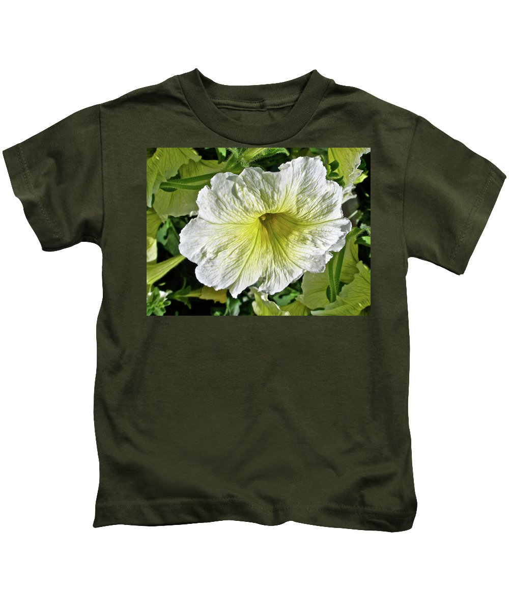 Petunia Kids T-Shirt featuring the photograph White Petunia - Solanaceae by Mother Nature