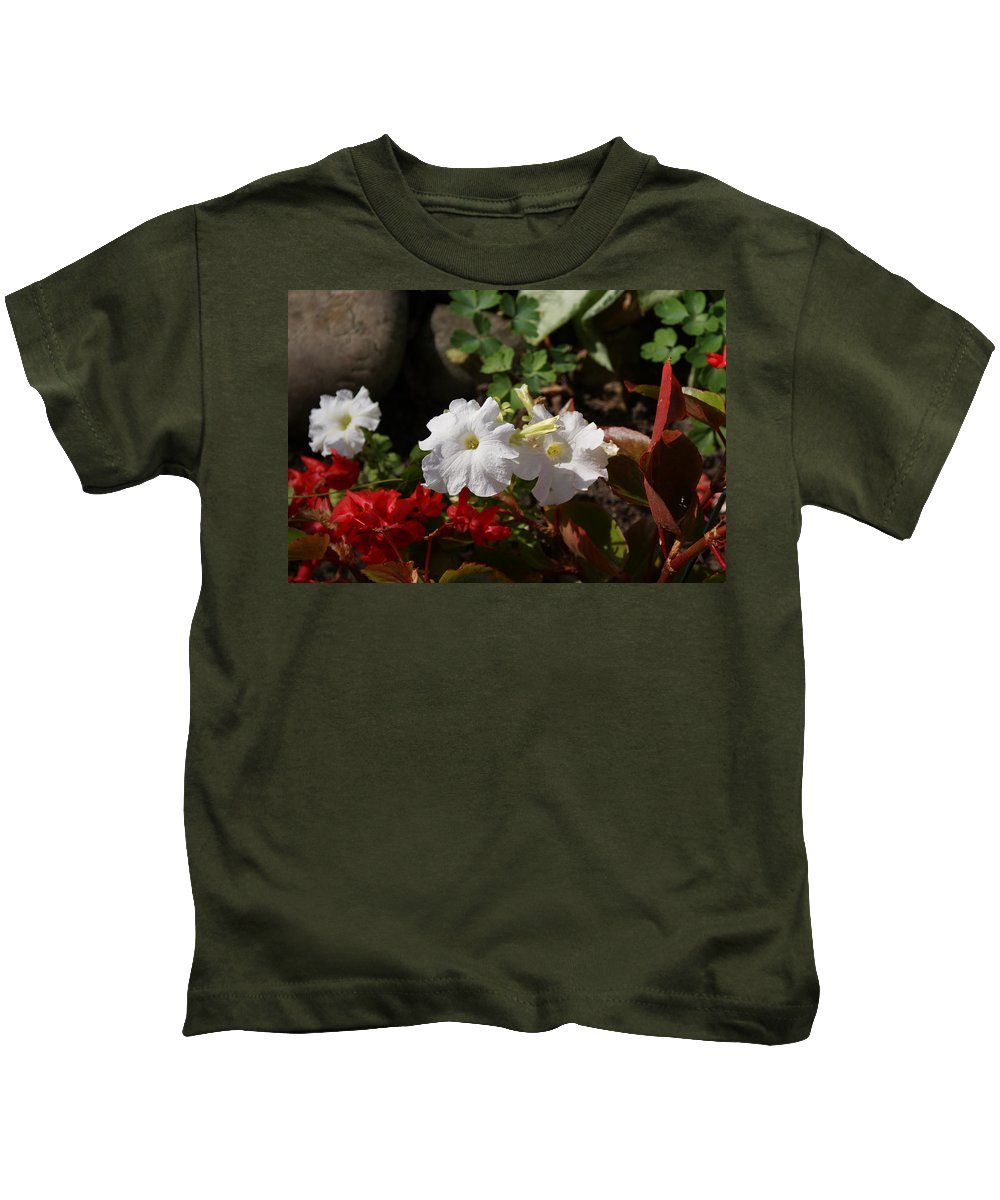 Usa Kids T-Shirt featuring the photograph White Petunias by Holly Eads