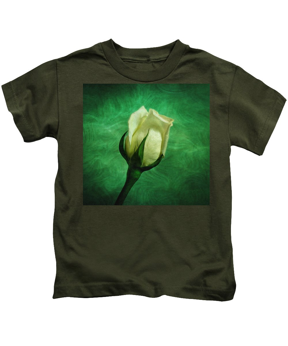 Roses Kids T-Shirt featuring the photograph White Rose by Sandy Keeton