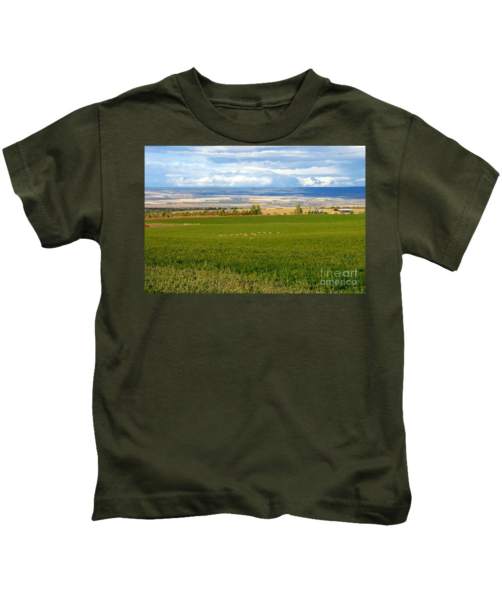 White Tail Deer Kids T-Shirt featuring the photograph White Tails In The Field by David Lee Thompson