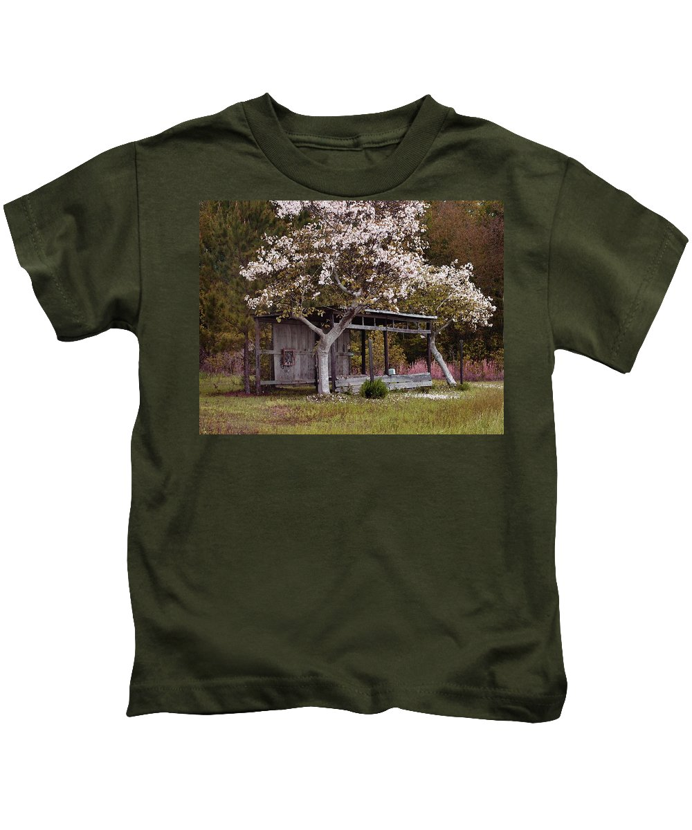 Alabama Photographer Kids T-Shirt featuring the digital art White Tree And Old Barn by Michael Thomas