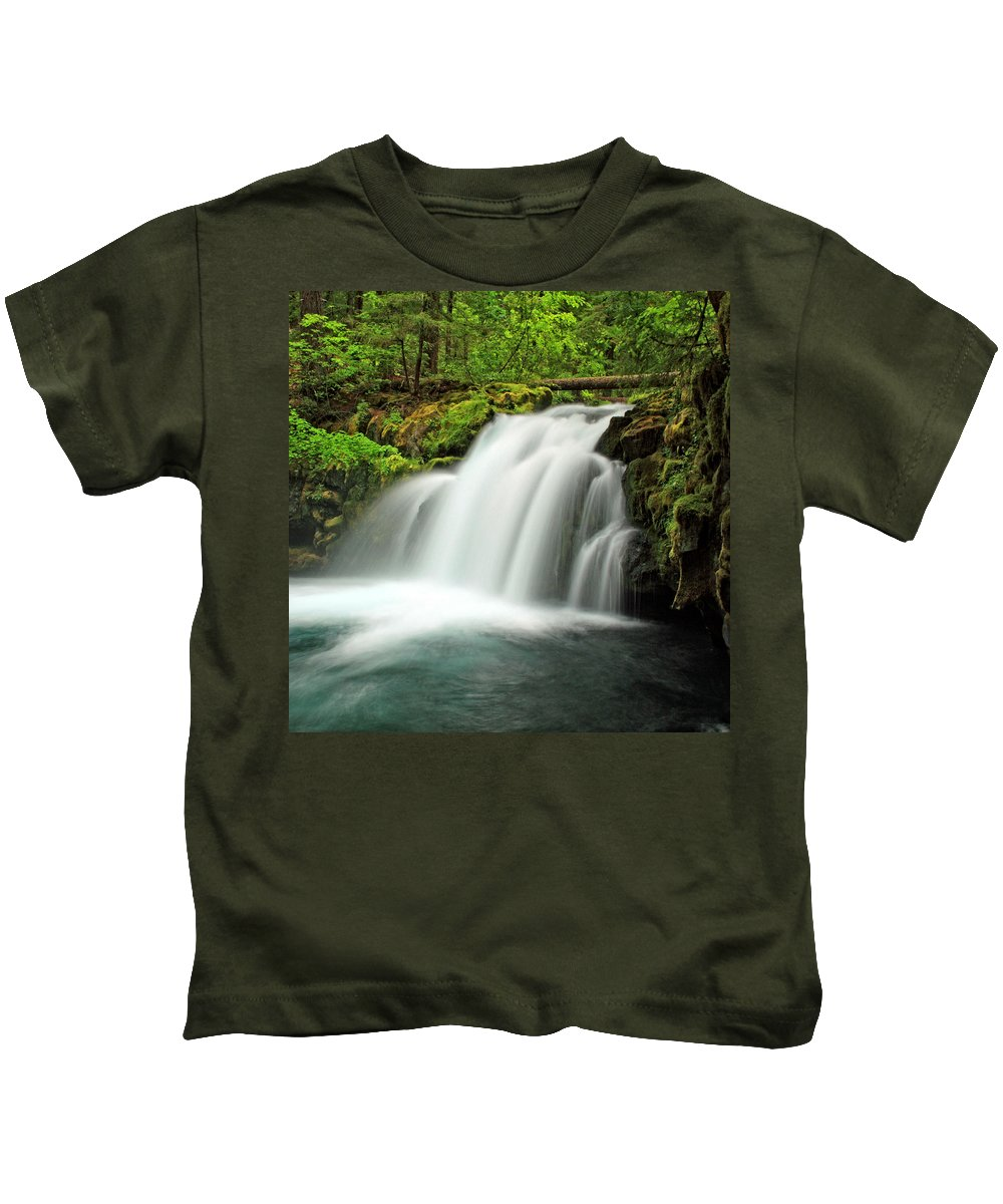 Columbia Gorge Kids T-Shirt featuring the photograph Whitehorse Falls 1 by Ingrid Smith-Johnsen