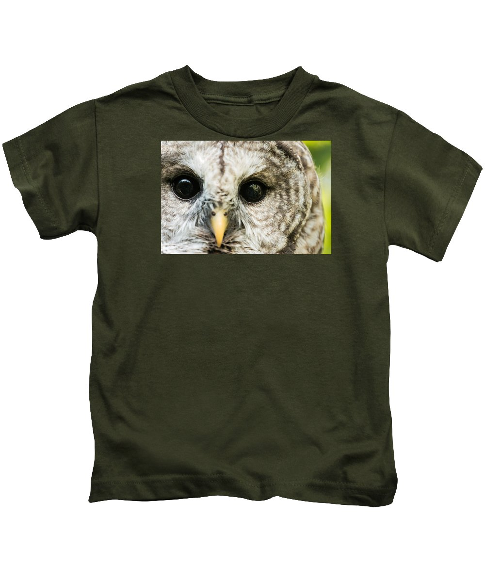 Owl Kids T-Shirt featuring the photograph ...who Are You by Cory Huchkowski